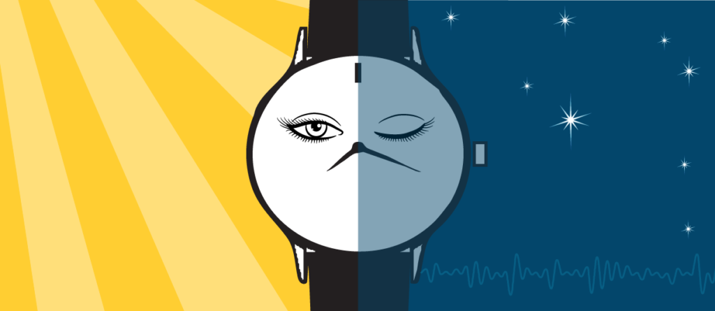 Image split in half with two backgrounds, day and night, with a watch in the center. A face on the watch is half awake on the day side of the image and asleep on the night side. Illustrated by McCall Sarrett.